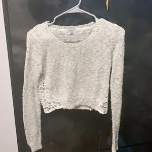 Gray and White Marled Crop Sweater